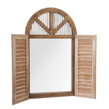 Shutter Wall Mirror with Metal and Wood Frame