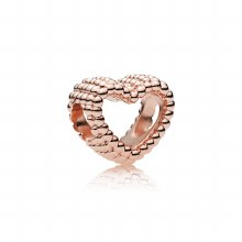 Beaded heart charm in PANDORA
