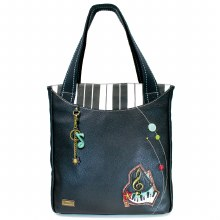 Striped Tote Piano black