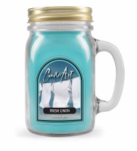 Fresh Linen Mug Candle with Wood Wick Light Blue