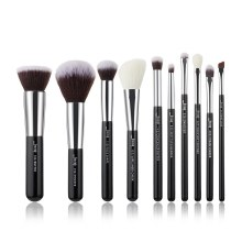 Jessup Beauty 10 Pc Makeup Brush Set Black/Silver T176