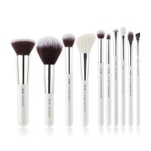 Jessup Beauty  10Pc  Makeup Brush Set White/Silver T236