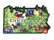 Pa Map Wooden Magnet