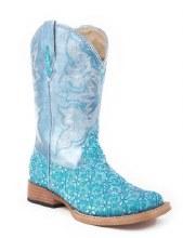 Turqoise Floral Glitter Boots Sz 13