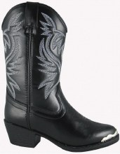 Boys Smokey Mountian Mesquite Black Faux Leather Boot Sz 9