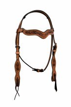 Alamo Saddlery Wave Style Headstall Golden Leather w. Arrow Tooling