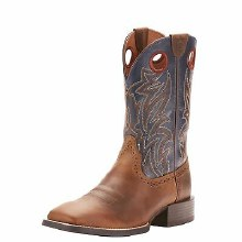 Ariat Sport Sidebet Distressed Brown/Solid Blue 8 D