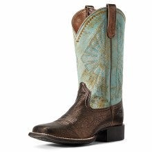 Ariat Women's Round Up Rio Western Boot-Dark Bronze 7.5