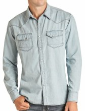 Men's Light Wash Denim Long Sleeve Snap Small