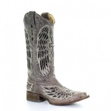 Corral Wing Boot Distressed Brown/Black Glitter Inlay  9