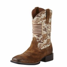 Ariat Sport Patriot Western Boot Antique Mocha Suede