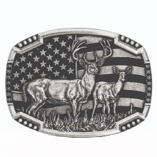 Montana Silversmiths Deer Flag Belt Buckle
