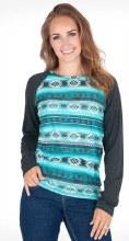 Cowgirl Tuff Co. Turquoise Aztec Long Sleeve Tee XSmall