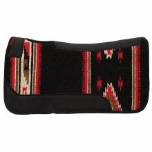 """3/4"""" Wool Blend Felt Pad with Single Weave Blanket Topper-Black Pattern"""