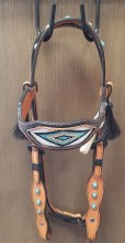 Alamo Saddlery Beaded Dimond Gold Turquoise Headstall