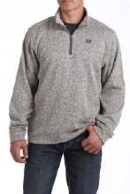 1/4 Zip Sweater Knit Fleece Pullover Khaki XL