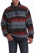 Men's Printed Polar Fleece Pullover Navy/Red L