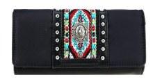 Montana West Aztec Collection Wallet/Wristlet Black