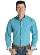 Panhandle Men's Turquoise Button Down Small