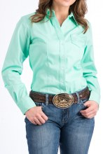 Cinch Ladies Mint Button Down Small