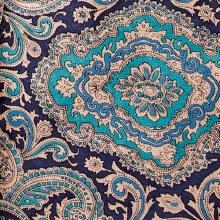 Silk Scarf Paisley Blue/Gold
