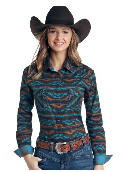 Rough Stock Long Sleeve Arroyo Aztec Blouse  XL