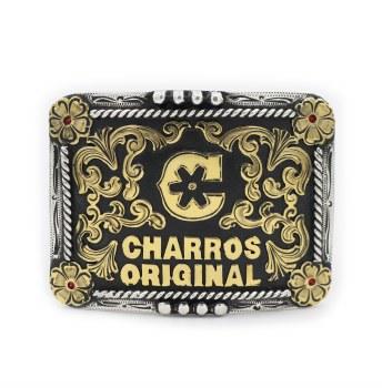 Hebilla Fina Charros Original Flor Roja Buckle