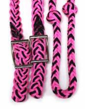 Black Pink Nylon Braided Reins