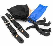 Bull Riding spurs 15 degree offset spur straps, bull riding rosin & blue sock