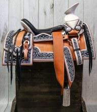 "15.5"" Charro Saddle Montura Silla Charra Cuadrada Navajeada"