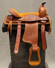 "10"" Tan Children Mini Pony Saddle"