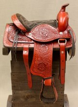 "10"" Burgundy Miniature Horse Saddle"