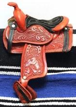 """5"""" Burgundy Leather Decor Sadlle"""