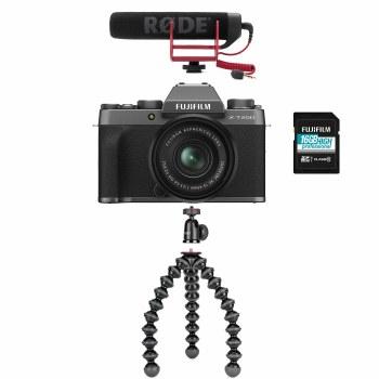 Fujifilm X-T200 Dark Silver Camera with XC 15-45mm Lens + Vlogging Kit