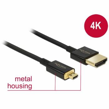 Delock HDMI-A Male To HDMI Micro-D Male 3D 4K 2 m Slim