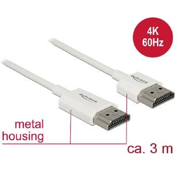 Delock Cable HDMI-A Male To HDMI-A Male 3m Active Slim