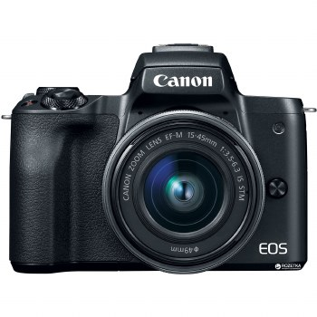 Canon EOS M50 Black with EF-M 15-45 IS STM