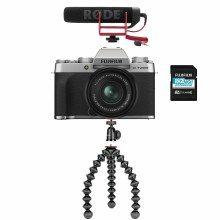 Fujifilm X-T200 Silver Camera with XC 15-45mm Lens + Vlogging Kit