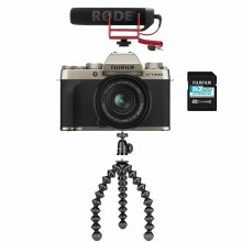 Fujifilm X-T200 Gold Camera with XC15-45mm Lens + Vlogging Kit