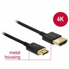 Delock Cable  HDM-A male To HDMI Mini-C Male 3D 4K 3m Active Slim Premium