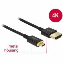 Delock HDMI-A Male to HDMI Micro-D Male 3D 4K 0.5m Slim Premium