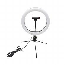 YouStar Content Creator Adjustable 26cm LED Ring Light with Phone Holder & Desktop Stand