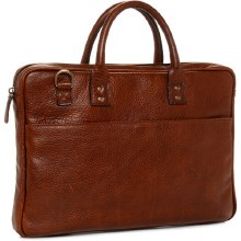"Ona Kingston 15"" Leather Briefcase Walnut"