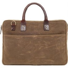 Ona Kingston Field Tan Waxed Canvas Briefcase