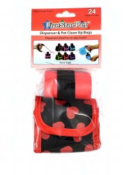 Five Star Pet Black and Red Hearts Purse Style Dispenser and Waste Baggies 24ct