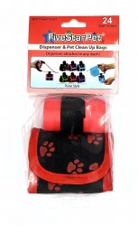 Five Star Pet Black and Red Paws Purse Style Dispenser and Waste Bags 24ct