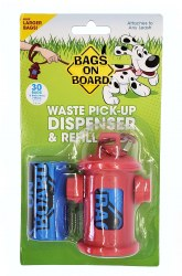 Bags on Board Waste Pick-Up Hydrant Dispenser and Refill Baggies 30ct