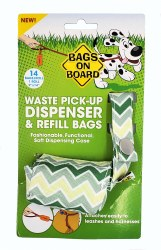 Bags on Board Waste Pick-Up Chevron Pattern Dispenser and Refill Bags 14ct