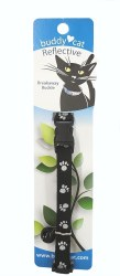 """Buddy Cat Reflective Paws Black Collar with Bell 12"""""""