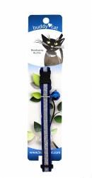 "Buddy Cat Blue Velvet Sparkle Collar with Bell 12"""